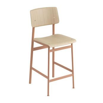 Muuto - Loft Barhocker 65cm - staubiges rosa/eiche/Sitzfläche Eiche/BxHxT 42,5x98,5x49cm/Gestell Stahl pulverbeschichtet
