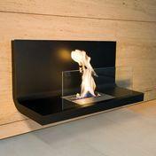 Radius - Wall Flame 1 Kaminfeuer - transparent, schwarz/Edelstahl schwarz