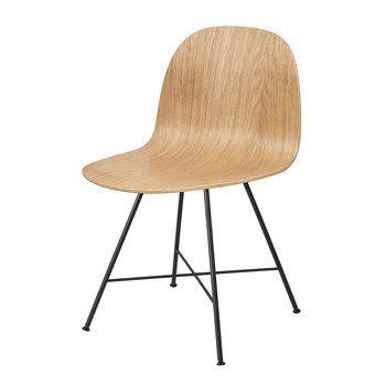 Gubi - Gubi 2D Dining Chair Stuhl - eiche/Sitzfläche Eiche/BxHxT 47x80x55cm/Gestell schwarz