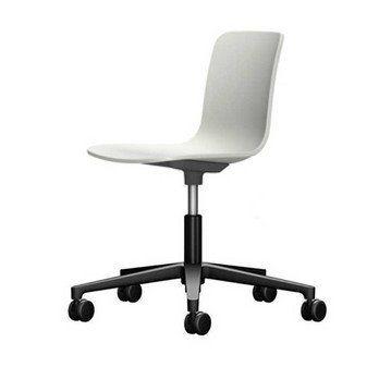 Vitra - HAL Studio Drehstuhl - weiß/Sitzfläche weiß/BxHxT 47x74x49cm/Gestell schwarz/mit weichen Rollen