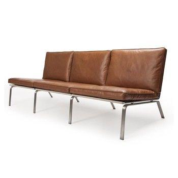 NORR 11 - Man Lounge 3-Sitzer Ledersofa - cognac braun/Gestell aus gebürstetem Stahl/Anilin Leder/197x74x75cm
