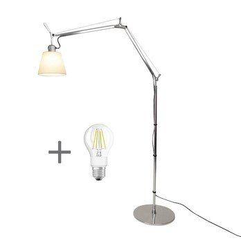 Artemide - Aktionsset Tolomeo Terra Basculante + LED - aluminium/Schirm Pergament/H: 134cm x Ø 18cm/LED Leuchtmittel geschenkt