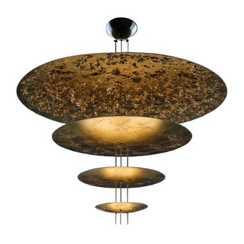 Catellani & Smith - Macchina Della Luce F LED Pendelleuchte - gold/Messing Stäbe/2600K-2800K/5670lm/CRI80/IP20/Scheiben Ø120/80/50/30cm