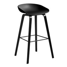 HAY - About a Stool AAS 32 Bar Stool High Black Stained Oak Base