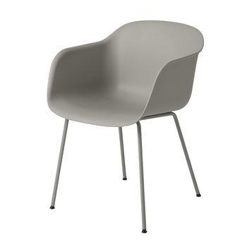 Muuto - Fiber Chair Armlehnstuhl  - grau/Gestell grau