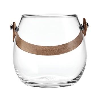 Holmegaard - Design with Light Glasschale - transparent/mit Lederhenkel/H 10cm