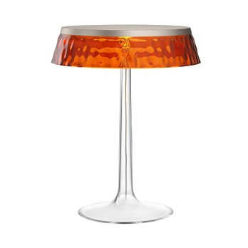 Flos - Bon Jour LED Tischleuchte chrom matt - bernstein/Schirm: Kunststoff/H 41cm/ Ø 31,6cm/Gestell transparent/chrom matt