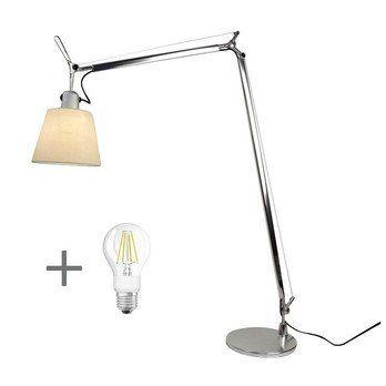 Artemide - Aktionsset Tolomeo Lettura Basculante + LED - aluminium/Schirm Pergament/LxBxH 87x18x108cm/LED Leuchtmittel geschenkt