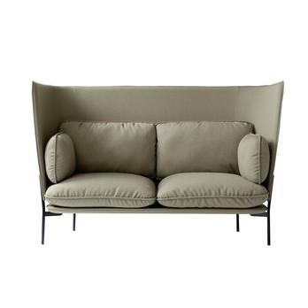 &tradition - Cloud High Back LN6 Sofa mit hohem Rücken - beige/Stoff kvadrat fiord 951/BxHxT 180x115x90cm/Füße schwarz