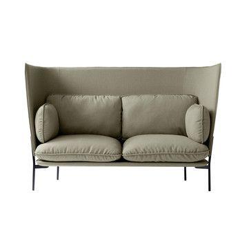 - Cloud High Back LN6 Sofa mit hohem Rücken - beige/Stoff kvadrat fiord 951/BxHxT 180x115x90cm/Füße schwarz