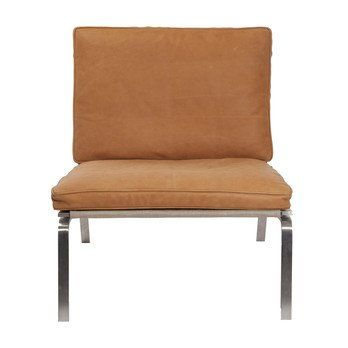 NORR 11 - Man Lounge Chair Sessel - cognac braun/Leder Vintage Leather Cognac 21000/Gestell aus gebürstetem Stahl/67x75x74cm