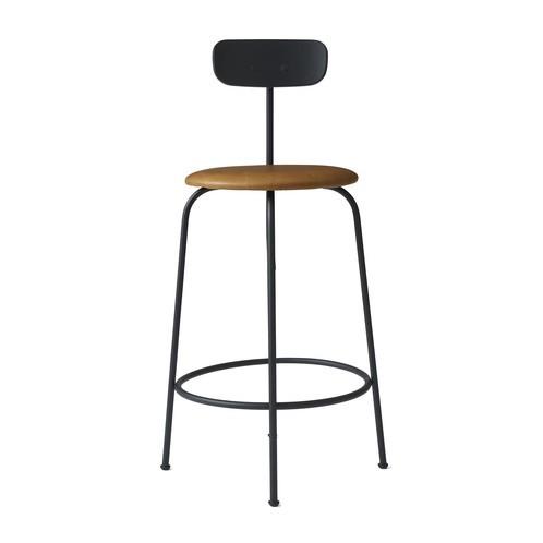 Menu - Afteroom Counter Chair Hocker gepolstert - schwarz/cognac/pulverbeschichtet/HxBxT: 92x46x54cm/Sitzpolster Sørensen Leder