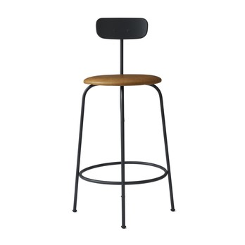 Menu - Afteroom Counter Chair Hocker gepolstert - schwarz/cognac/pulverbeschichtet/HxBxT: 92x46x54cm/Sitzpolster Sørensen Leder