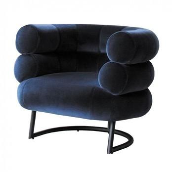 ClassiCon - Bibendum Sessel Gestell schwarz - dunkelblau/Samtstoff Harald 2-792