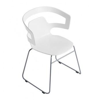 Alias - 501 Segesta Armlehnstuhl - weiß/Gestell silber lackiert