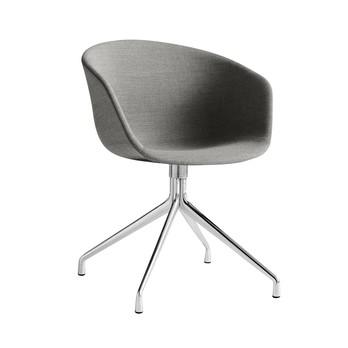 HAY - About a Chair 21 Armlehndrehstuhl gepolstert - grau/Stoff Remix 133/Gestell aluminium poliert/mit Kunststoffgleitern