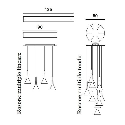 Foscarini - Aplomb Pendelleuchte für Mehrfach-Baldachin - Strichzeichnung