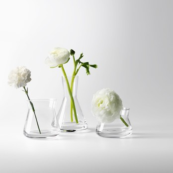 Drei kleine Vasen mit Blumen darin
