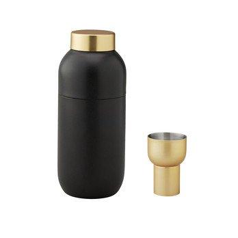 Stelton - Collar Cocktail Shaker + Messbecher - schwarz/gold/Shaker: 500ml, H 20cm, Ø 8cm/Messbecher: 2cl & 4cl