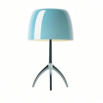 Foscarini - Lumiere Piccola Tischleuchte Aluminium - aluminium/türkis/Glas/Gestell poliert/H 35cm/Ø 20cm