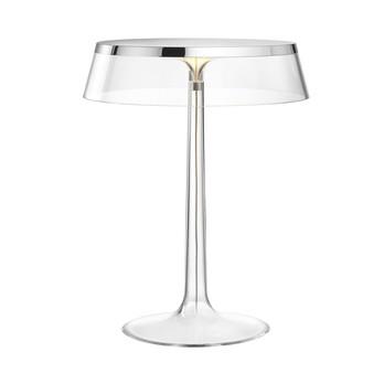 Flos - Bon Jour LED Tischleuchte chrom - transparent/Schirm: Kunststoff/H 41cm/ Ø 31,6cm/Gestell transparent/chrom glänzend
