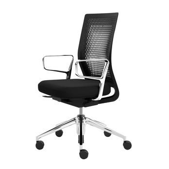Vitra - ID Air Bürostuhl mit Ringarmlehnen - nero schwarz/Stoff Plano/Gestell aluminium poliert/mit weich gebremsten Rollen