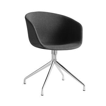 HAY - About a Chair 21 Armlehndrehstuhl gepolstert - asche/Stoff Remix 183/Gestell aluminium poliert/mit Kunststoffgleitern