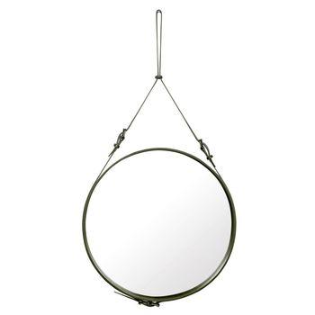 Gubi - Adnet Wandspiegel L - leder oliv/spiegel/Ø70cm