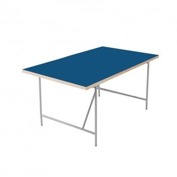 Richard Lampert - Eiermann Kinderschreibtisch - blau/Eichenkante/120x70cm/Linoleum Forbo/Gestell silber/inkl. Höhenversteller 55-72cm