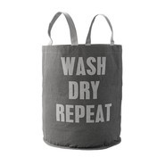 Bloomingville - Wash Dry Repeat Wäschesack - grau/hellgrau/Ø40 x H:50 cm