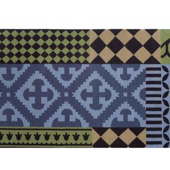 GAN - Kilim Siracusa Teppich  - blau/grün/schwarz/150x200cm