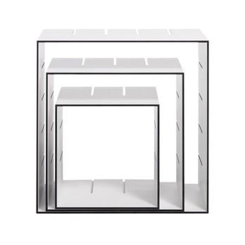 müller möbelwerkstätten - Konnex - Etagère indépendante No. 1 - blanc/chants noirs/box 1: 31.2x31.2x31.2cm/Box 2: 41.4x41.4x31.2cm/Box 3: 51.6x51.6x31.2cm