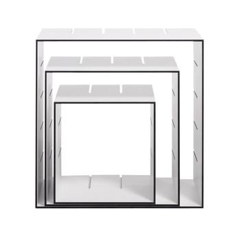 müller möbelwerkstätten - Konnex Shelf Set 1 - white/edges black/1 small + 1 medium + 1 large box/31.2 x 31.2cm / 41.4 x 41.4cm / 51.6 x 51.6cm