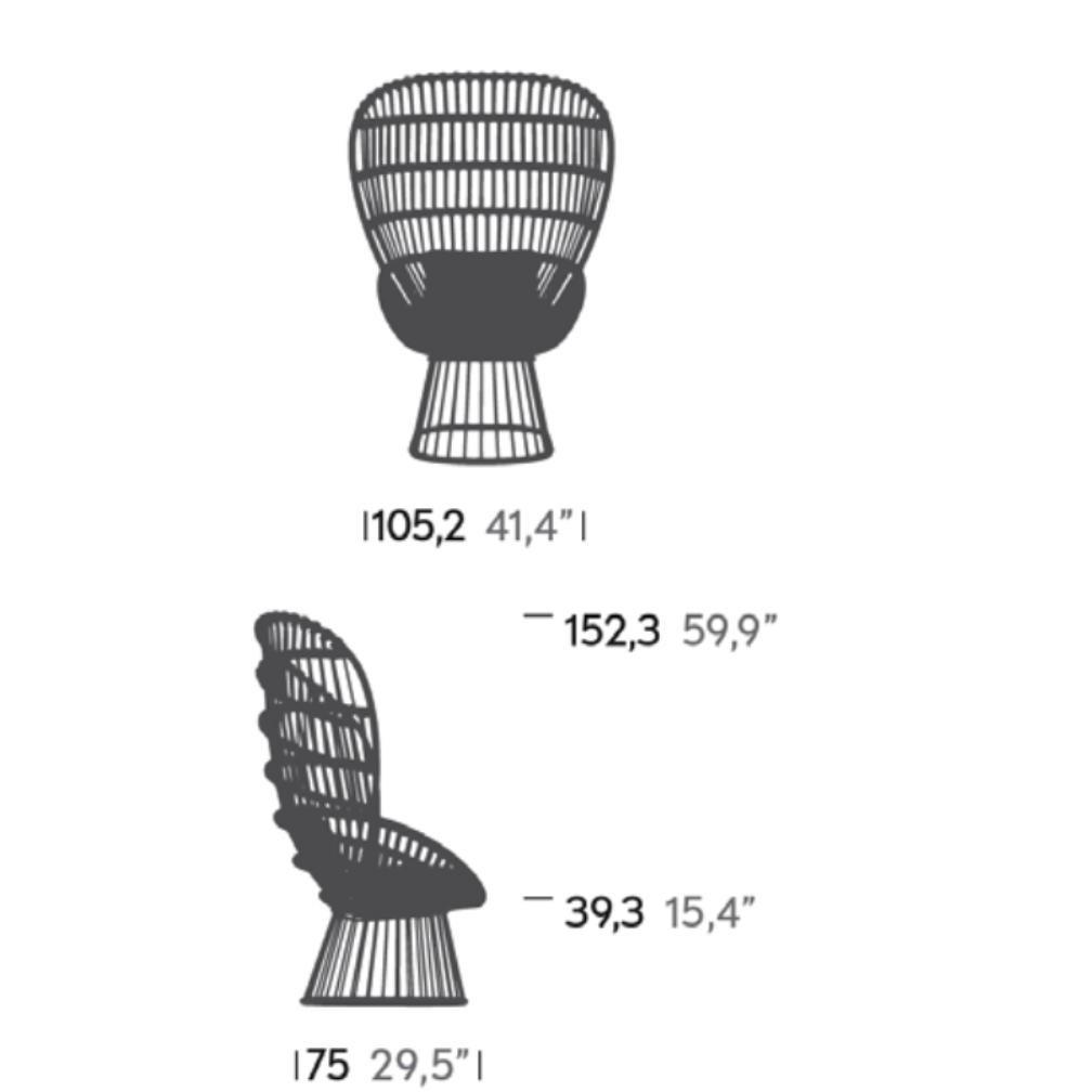 Kettal   Cala Armchair Frame Aluminium Round   Line Drawing