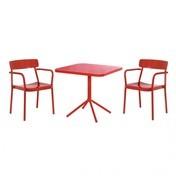 emu - Grace Gartenset - kirschrot/glänzend/2 Armlehnstühle/1 Bistrotisch 80x80x74cm