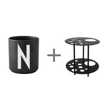 Design Letters - Gobelet grand N-Z noir + Support de fleur