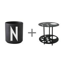 Design Letters - Porcelain Cup N-Z Black L + Flower Holder