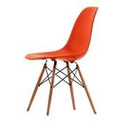 Vitra - Eames Plastic Side Chair DSW Stuhl Esche - klassisches rot/Gestell Esche honigfarben/Querverstrebungen aus Rundstahl schwarz