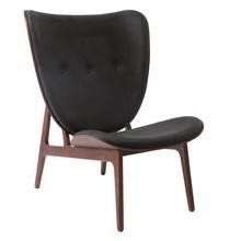 NORR 11 - Elephant Lounge Sessel Leder Gestell dunkel gebeizte Eiche