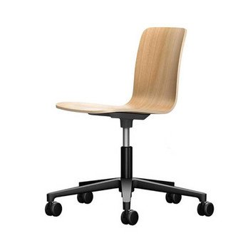 Vitra - HAL Ply Studio Drehstuhl - eiche/Sitzfläche Eiche/BxHxT 47x74x49cm/Gestell schwarz/mit weichen Rollen