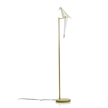 - Perch Light LED Stehleuchte - weiß/messing/H x L x B: 164 x 28 x33cm/2700K/150lm