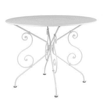 Fermob - 1900 Gartentisch - weiß/lackiert/mit Sonnenschirmloch/Ø96cm