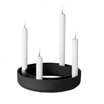 Muuto - Gloria Candle Holder - black/matt/Ø 24cm/cast iron