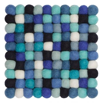 - Emma Untersetzer 20x20cm - blau/weiß/reine Schurwolle/Hitzebeständig bis zu 100 Grad