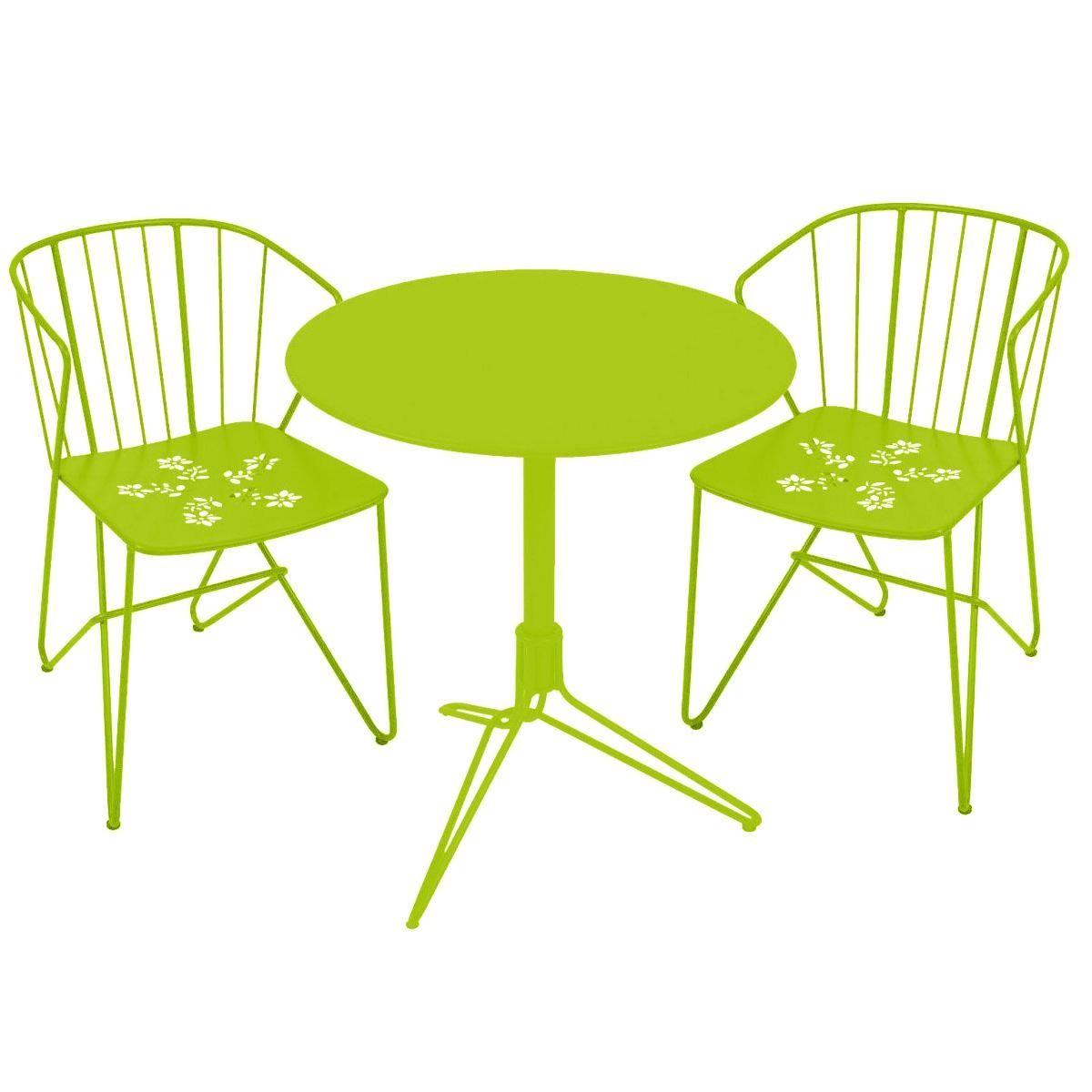 2 flower garden chairs 1 flower garden table fermob