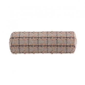 GAN - Garden Layers Small Roll Checks Kissen - terrakotta/Handwebstuhl/LxBxH 78x25x25cm