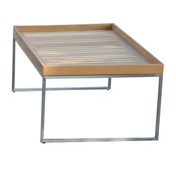 Jan Kurtz - Pizzo 110 Teakholz Garten-Beistelltisch - Teak/Tischplatte Teak abnehmbar/BxHxT 110x40x60cm/Gestell Edelstahl