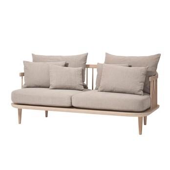 &tradition - FLY SC2 2-Sitzer Sofa - beige/Stoff Hot Madison 094/Gestell weiße geölte Eiche/inklusive Kissen
