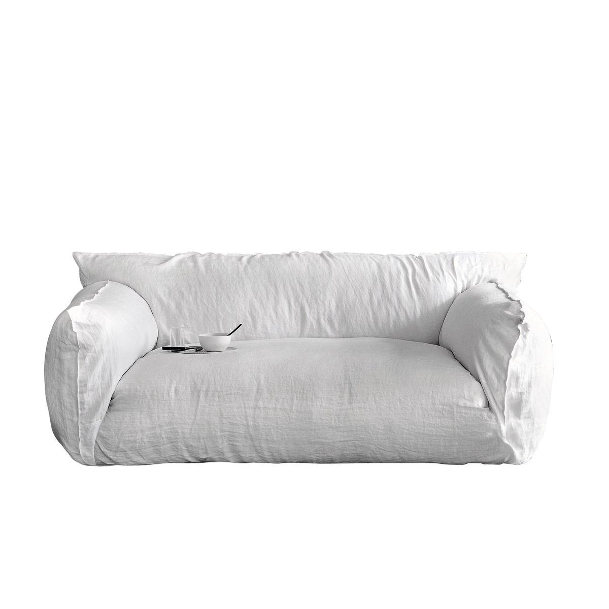 Home nuvola italian inspired leather dark grey sofa collection - Gervasoni Nuvola 10 Sofa White Fabric Lino Bianco