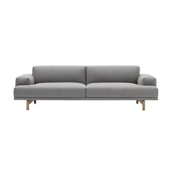 Muuto - Muuto Compose 3 Sitzer Sofa - grau/Stoff Vancouver 14/BxHxT 94x240x69cm/Füße Eiche
